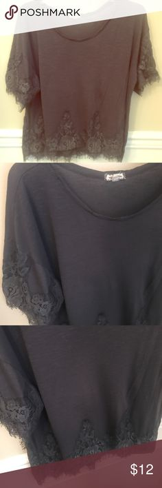 Eyeshadow Smoky Grey Lace Crop Top Worn and washed once. Excellent condition. Reasonable offers accepted via offer button only. No trades. I strive to maintain good feedback. I'm a real person. If for any reason you are unhappy with your purchase, please contact me. Eyeshadow Tops Crop Tops
