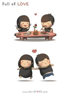 Check out the comic HJ-Story :: Full of Love Hj Story, Cute Couple Cartoon, Cute Cartoon, Cartoon Love Quotes, Chibi Couple, Cute Love Stories, Love Story, Ah O Amor, Cute Love Cartoons