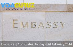 Embassies | Consulates in India Holidays List February 2014
