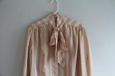 Evan Picone Peach Pastel stripe neck tie by greeneggsandhamm, $18.00