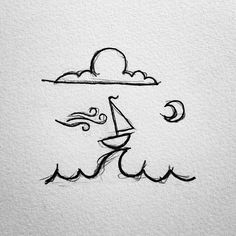 A little sailboat I've drawn over the years. #drawing #doodle #doodling…