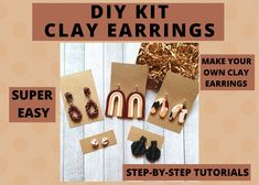 Making Jewelry For Beginners, Wire Jewelry Making, Polymer Clay Flowers, Polymer Clay Earrings, Craft Kits, Diy Kits, Diy Earrings Kit, Make Your Own Clay, Star Diy