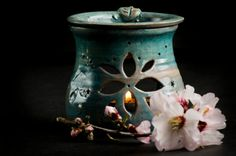 Blue aromatherapy diffuser turquoise oil burner by PotterPainter