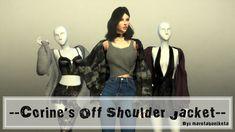 Corine's Off Shoulder Jacket Accessory Off Shoulder Jacket, Off The Shoulder, Sims 4, Jackets, Tops, Women, Fashion, Down Jackets, Moda