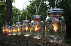 PARTY LIGHTS  Mason Jar String Banner Lights with 8 by BootsNGus,
