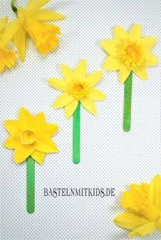 Tinker paper flowers - crafts mitkids - Papierblumen basteln – Bastelnmitkids Make spring flowers with children. Great craft idea for kindergarten and at home Easter Activities, Spring Activities, Preschool Crafts, Paper Flowers Craft, Flower Crafts, Paper Crafts, Des Fleurs Pour Algernon, Diy And Crafts, Crafts For Kids