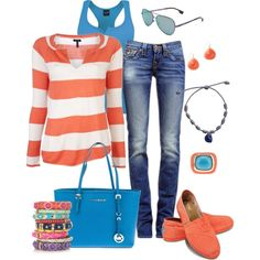 *I love the shirt. *The color of the tank top with the colors on the shirt are awesome. *If I wore contacts, I would wear those sunglasses. *I would change the jeans into a skirt. *I am in LOVE with those shoes. *No jewelry of course. *And the bag is awesome.