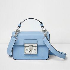 Blue lock front mini satchel cross body bag $44.00