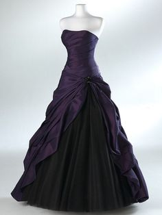 Purple and Black A-Line Ball Gown Prom Dress