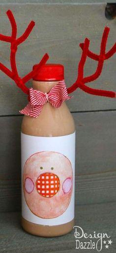 to to make reindeer chocolate milk with free printable