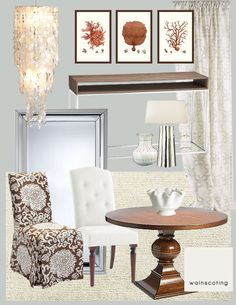 Great Design Board for the Dining Room! Loving everything about this - especially the coral artwork!