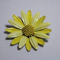 Vintage Yellow Flower Brooch enamel  ladies by purrfectstitchers, $10.00
