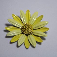 Vintage Yellow Flower Brooch enamel  ladies by purrfectstitchers, $10.00