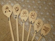 Hand engraved funny wooden mood spoons. Ideal present for anybody who likes cooking. The listing is for 1 item.