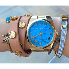 Michael Kors watch turquoise Watch my husband gave this one to me Absolutely love it My Wallet, Michael Kors, Valentino Rockstud, Old Hollywood Glamour, Kinds Of Shoes, Fancy Pants, Girls Best Friend, Everyday Fashion, Piercing