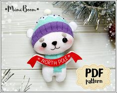 This is a digital tutorial on how to make the Polar bear Christmas ornament from felt Included step by step instructions, pictures and full size pattern pieces. (no need to enlarge or resize). Its completely hand sew and you dont need a sewing machine. THIS IS NOT A FINISHED TOY. THIS IS A