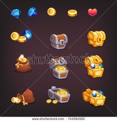 Icons coins and chests for the game interface Game Ui Design, Icon Design, Coin Icon, 2d Game Art, Game Interface, Game Icon, Instagram Design, Game Concept, Game Assets