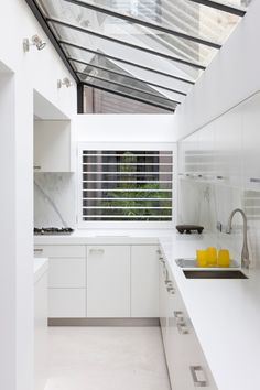 Kitchen extension with glazing natural skylights