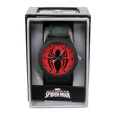 Spider-Man Emblem Strap Watch  Accessorize like Peter Parker would if he were less discreet! This Spider-Man Emblem Strap Watch looks fantastic and is a must-have forSpider-Manfans. This great watch is colored black overall, with the face of the watch colored red and displaying the arachnidSpider-Manlogo. Ages 12 and up.   via @AnotherUniverse.com  anotheruniverse.c...