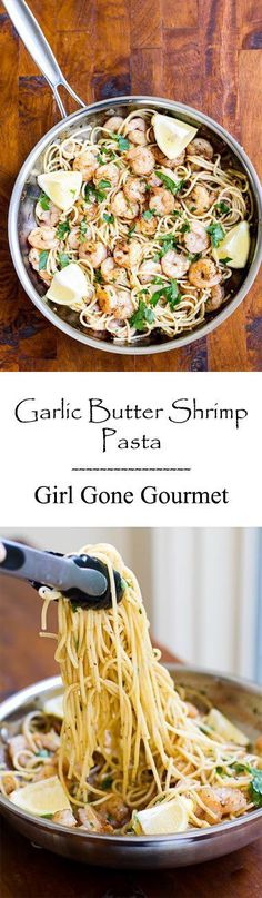 Shrimp tossed with pasta and a buttery garlic sauce - comfort food at it's best! from www.girlgonegourmet.com