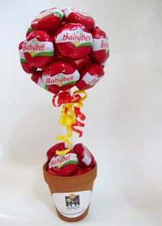Baby Bell Cheese tree, for a bit of difference added to the party food table. Candy Topiary, Candy Trees, Topiary Trees, Chocolates, Cheese Tree, Food Bouquet, Sweet Trees, 3rd Birthday Parties, Birthday Ideas