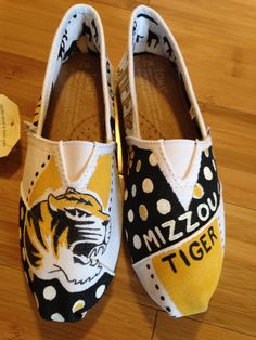 Mizzou Tigers custom shoes! Affordable prices. Shipping available!   Order a pair of shoes with your specifications Bella Lace Boutique!   www.facebook.com/bellalaceboutique.  Or www.etsy.com/shop/bellalaceboutique