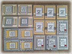 """airbornewife's stamping spot: 17 completed cards """"I MISS YOU, THANKS SO MUCH and YOU MEAN THE WORLD TO ME"""""""