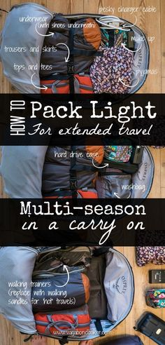 How I pack a carry on size bag for any trip, long or short and multi-season! Pack light, travel happy!