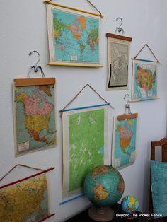 Vintage Maps, Vintage Decor, Map Wall Decor, Room Decor, Map Crafts, Map Projects, World Map Decor, Globe Decor, Décor Antique