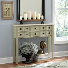 Maddow Console Table   The Maddow Console Table has six small drawers adorned with ring pulls to offer convenient space for keeping odds and ends organized, and its shallow depth makes it an ideal accent for narrow hallways or other tight spaces. Finished in a distressed pale gray, its style suits both cottage- and vintage-inspired homes.