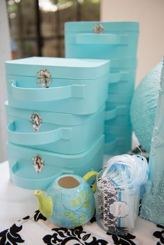 Tiffany-inspired Luggage Cases for Decorating from a Breakfast at Tiffany's Inspired Birthday Party
