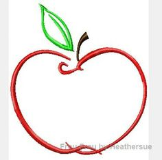Apple Swirly Machine Embroidery Design, Multiple sizes including 1, 2, 4, 5, and 6 inch