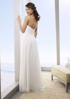 A-Line Strapless Floor-Length Chiffon Beach Wedding Dresses - Belle Wishes