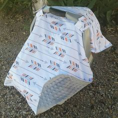 Baby Boy Car Seat Canopy White Arrows by KadydidDesigns on Etsy