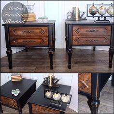 furniture muebles Here is another lovely set of nightstands! Painted in Lamp Black Milk Paint and sealed with Flat Out Flat Topcoat by Airdrie Furniture Revival. Refurbished Furniture, Retro Furniture, Classic Furniture, Repurposed Furniture, Shabby Chic Furniture, Cheap Furniture, Furniture Projects, Rustic Furniture, Luxury Furniture