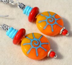 SUNBURST-Handmade Lampwork and Sterling Silver Earrings