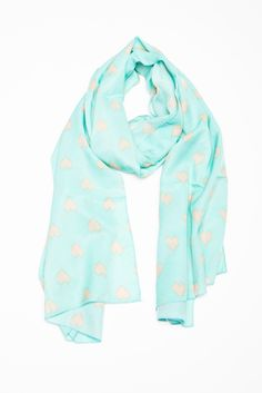 Mint Green Heart to Heart Scarf