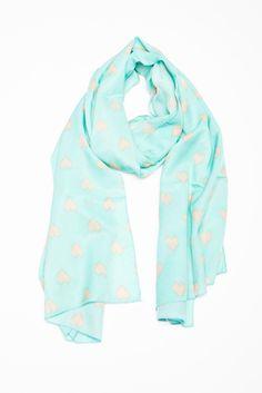 Mint heart scarf