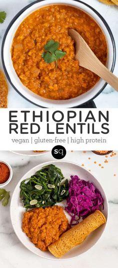 Quick Vegan Meals, Easy Vegan Dinner, Vegan Dinner Recipes, Vegan Dinners, Whole Food Recipes, Quick Vegetarian Dinner, Quick Easy Dinner, Vegan Ethiopian Recipes, Vegan Lentil Recipes