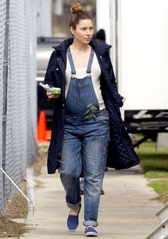 Jessica Biel joins a group of stylish celebs who rocked denim overalls during their pregnancy like Liv Tyler and Rachel Bilson; see photos of her maternity look on Wednesday, Feb. 25, in New Orleans