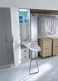 Fold out ironing board Diy Kitchen Storage, Laundry Room Storage, Storage Spaces, Kitchen Room Design, Home Room Design, Utility Room Designs, Laundry Room Layouts, Industrial Home Design, Hidden Kitchen