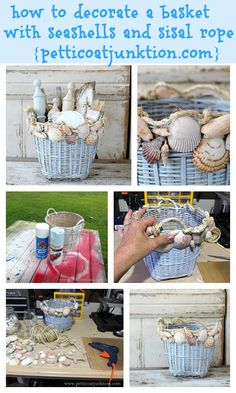 How to decorate a basket with seashells and sisal rope Petticoat Junktion. The sisal rope was the finishing touch. Seashell Projects, Seashell Crafts, Beach Crafts, Basket Crafts, Do It Yourself Wedding, Craft Day, Decoration Table, Beach House Decor, Beach Themes