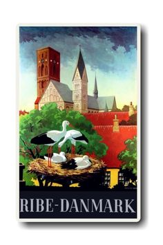 Ribe Denmark with their famous storks and the Cathedral in the background.