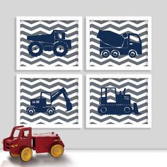 Hey, I found this really awesome Etsy listing at http://www.etsy.com/listing/159273985/chevron-construction-truck-print-set-set