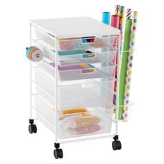 The Container Store > White elfa Mesh Gift Wrap Cart. Reconfigure drawers to include a 3 runner drawer with hanging file runners.  Use the basket on the side for instruction folders.