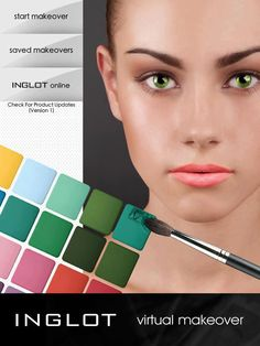 """INGLOT Cosmetics""""Virtual Makeover"""" app on iPhone, app is complimentary and available by visiting iTunes, INGLOTs array of products colors wherever you go, Makeover App, Virtual Makeover, Buy Cosmetics Online, Makeup Must Haves, Online Checks, Beauty Hacks, Beauty Tips, Beauty Products, Beauty Makeup"""