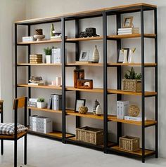Vintage Wrought Iron separators do the old wood bookcase Ikea shelving creative custom display shelves - Shelf Bookcase - Ideas of Shelf Bookcase - Wrought iron wood shelving racks wrought iron wrought iron shelf bookcase Shelf Furniture, Furniture Showroom, Metal Furniture, Industrial Furniture, Modern Furniture, Home Furniture, Furniture Design, Kitchen Furniture, Kitchen Decor