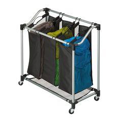 Rolling Laundry Sorter 3 Bag Basket Hamper Clothes Cart Storage Bin Organizer #HoneyCanDo