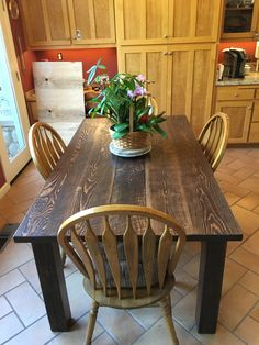 Rough sawn pine from the Rockingham racetrack joined up and stained dark with rough sawn fir legs. Dining Table Setting, Copper Dining Room, Door Dining Table, Corner Dining Table Set, Kitchen Table Settings, Dining Table, Kitchen Table Wood, Modern Dinning Table, Dining Room Pool Table