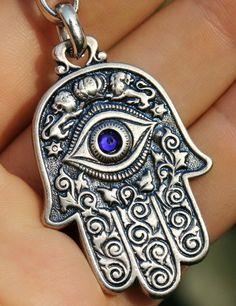 Hamsa Hand Keychain Jewish Symbols Charm Amulet, Kabbalah & Evil Eye…